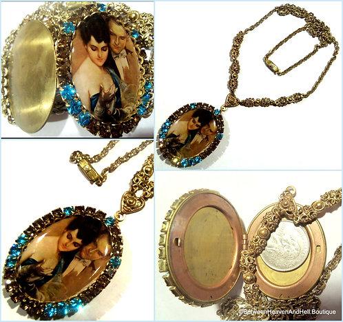 Vintage Rhinestone Victorian Locket Necklace Romance Couple Cameo Pendant