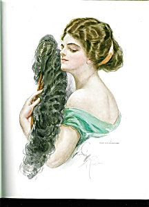 Antique Edwardian Lady With Fan Print Harrison Fisher
