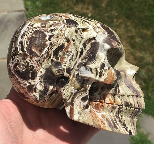"Activated Large 5.1"" Morrisonite Jasper Crystal Skull - Spiritual Soul Healing"