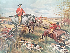 Antique Colonial Fox Hunting Print Horses, Dogs