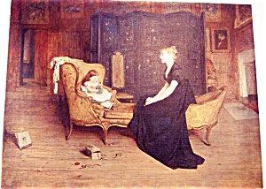Vintage Print Girl & Mother Victorian Parlor Scene