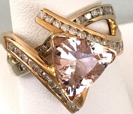 Stunning 14k Trillion Cut Pink Morganite & Diamond Ring - John C Rinker