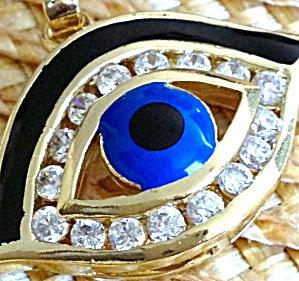 Rhinestone Blue Evil Eye Pendant - Goldtone