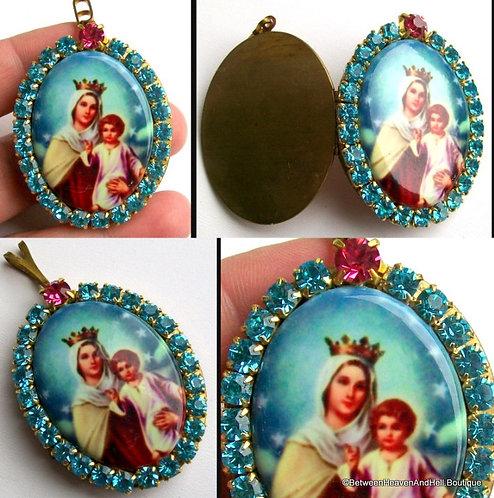 Madonna and Child Prayer Petition Rhinestone Cameo Locket Virgin Mary Jewelry