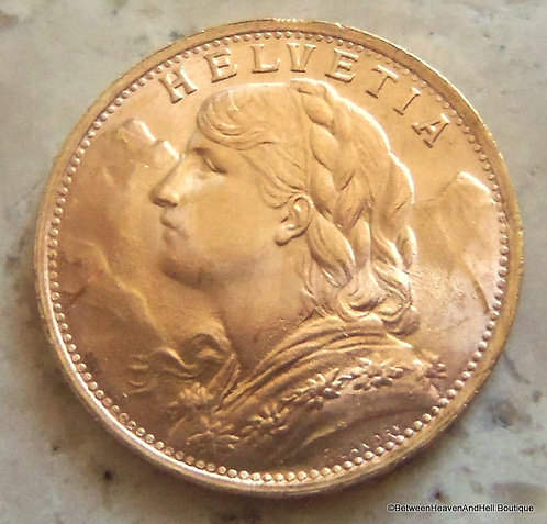 20 Francs Gold Coin Swiss Switzerland Bullion Foreign 6.45 Grams, 1947