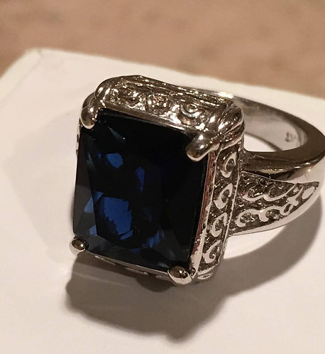 10k White gold Large Simulated Sapphire Ring in heavy Ornate Setting