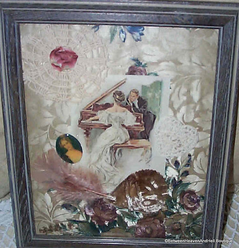 Vintage Print Lady Playing Piano Art Assemblage Collage Harrison Fisher