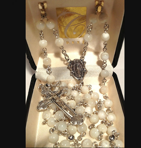 Creed Silver Mother Of Pearl Rosaries Rosary Beads Miraculous Medal Centerpiece