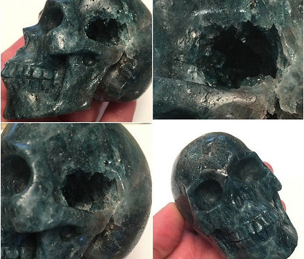 Activated Druzy Blue Apatite Crystal Skull - Clairvoyance, Automatic Writing
