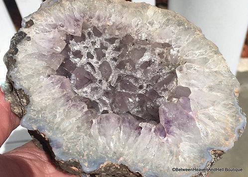 "4.75"" Sparkling Natural Druzy Amethyst Quartz Cluster Geode Bowl"