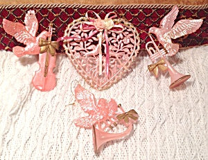 Vintage Shabby Pink Doves Heart Music Themed Ornaments