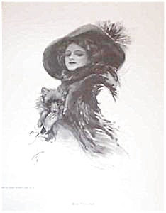 Vintage Harrison Fisher Print Victorian Lady Pomeranian Dog