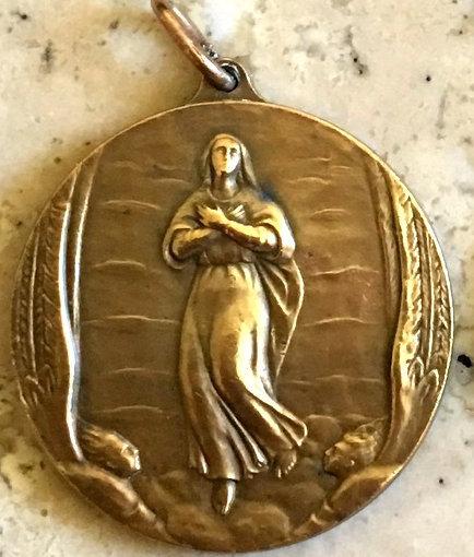 Large Vintage Medal Signed Martini Art Nouveau Angel Virgin Mary Assumption Roma