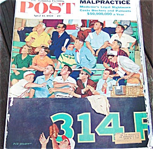 Saturday Evening Post 1959 Baseball Game Cover Dick Sargent