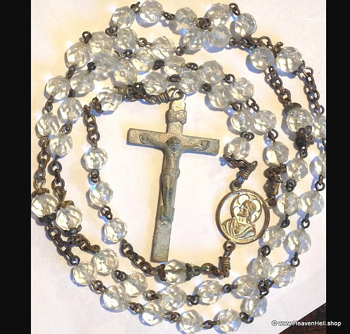 Vintage Rosaries Faceted Clear Crystal Rosary Beads Catholic Religious Gifts