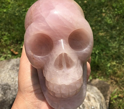 Large Vintage 2.4Lb Pink Rose Quartz Crystal Skull Sculpture