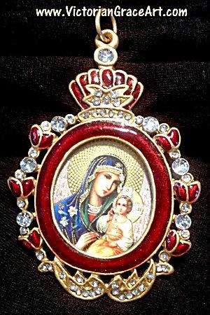 Rhinestone Red Enamel Orthodox Virgin Mary Jesus Icon Shrine Pendant