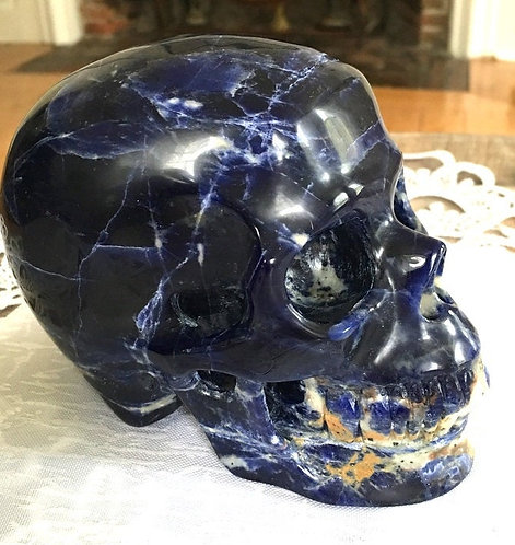 "Large 5"" Activated Midnight Blue Sodalite Crystal Skull - Spirit Communication"