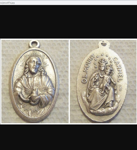 Vintage Medal Scapular Sacred Heart Jesus Pendant Religious Jewerlry