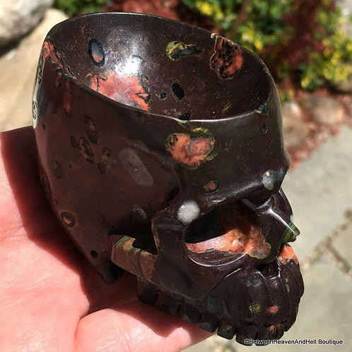 Gemstone Crystal Skull Bowl - Plumite Poppy Jasper Cup, Plum Blossom