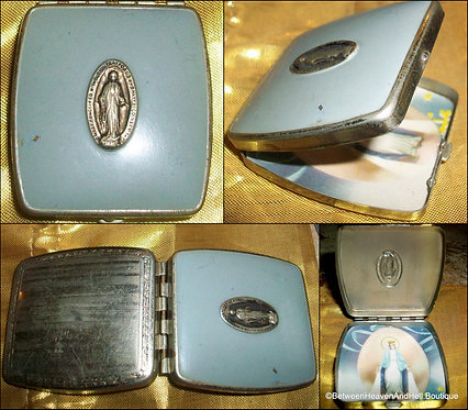 Vintage Blue Enamel Virgin Mary Miraculous Medal Rosary Box