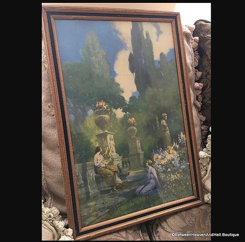 1920's Art Deco Women Framed Print Verdelti Ra Fox style Ladies Garden Urns