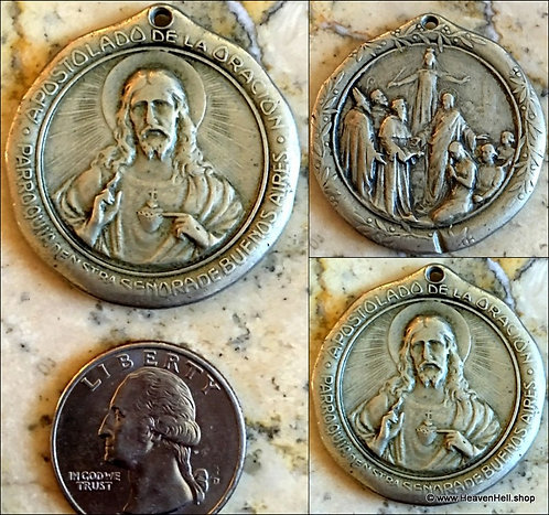 Rare Large Vintage Holy Medal Scapular Sacred Heart of Jesus Mother Mary Saints