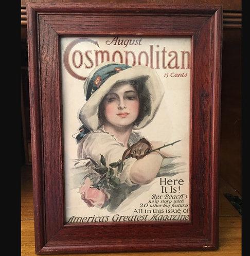 1910's Pink Roses Antique Harrison Fisher Cosmopolitan Magazine Cover Art Framed