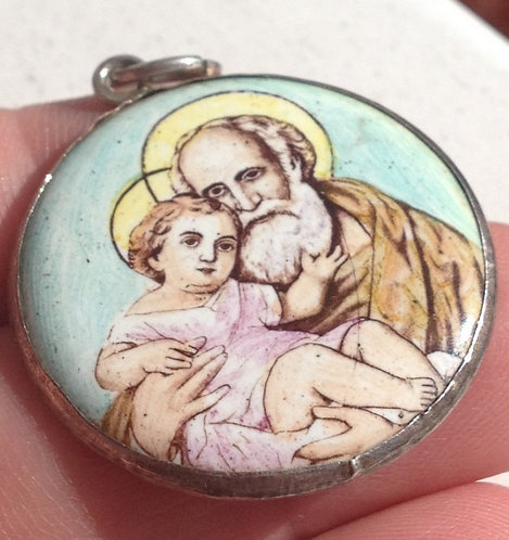 Vintage Holy medal Colored Enamel Saint Joseph Child Jesus Religious Pendant