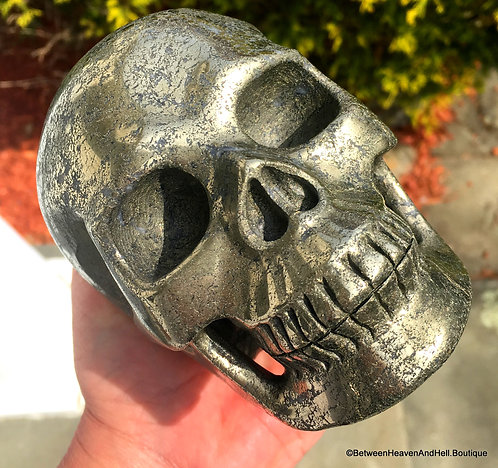 4.6Lb Large Master Entity Pyrite Skull ACTIVATED GOLDEN RAY Energy Transmitter