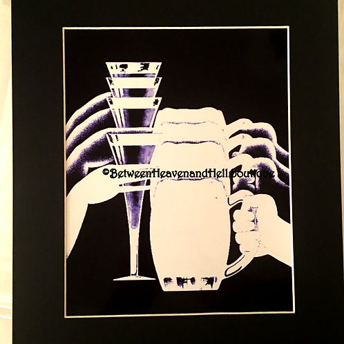 Champagne & Beer Bar Decor Altered Art Giclee Print Between Heaven & Hell 8x10
