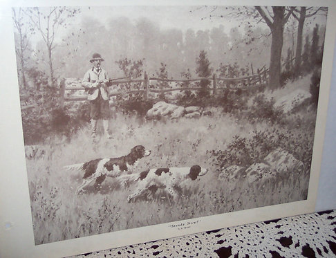 Antique Art Ab Frost Vintage Print Hunting Dogs Steady Now