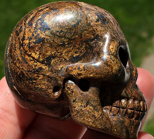 Chatoyant Bronzite with Hematite Crystal Skull - Magick, Willpower, Focus