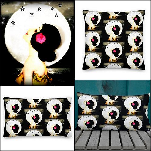 Black White Throw Pillow Celestial Starlight Full Moon Moonlight Wish BOHO Decor