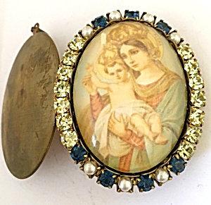 Rhinestone Madonna And Child Vintage Cameo Prayer Locket Remembrance Jewelry