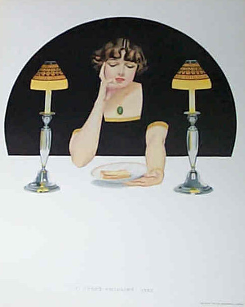 Vintage Coles Phillips Print Fade Away Girl Kitchen and Dining Room Wall Decor