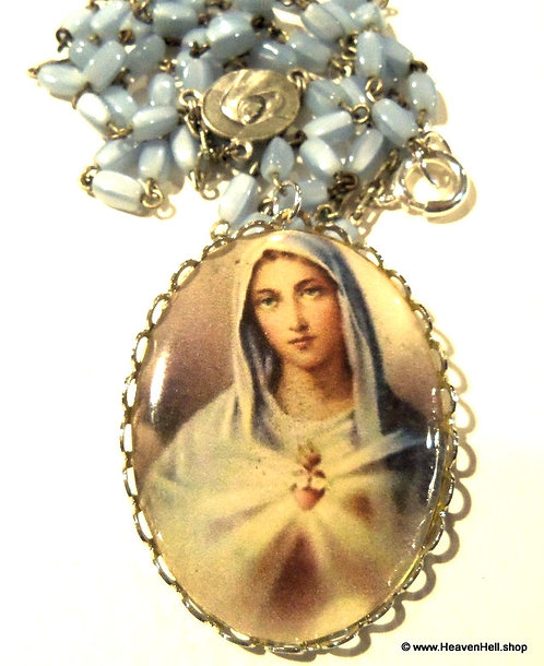 Vintage Glass Rosary Necklace Immaculate Heart Virgin Mary Religious Jewelry