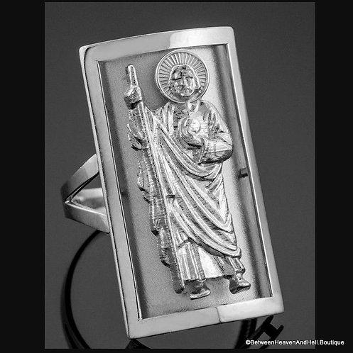 Sterling .925 Silver Ring Saint Jude Patron Hopeless Causes Men's Ladies Size 10