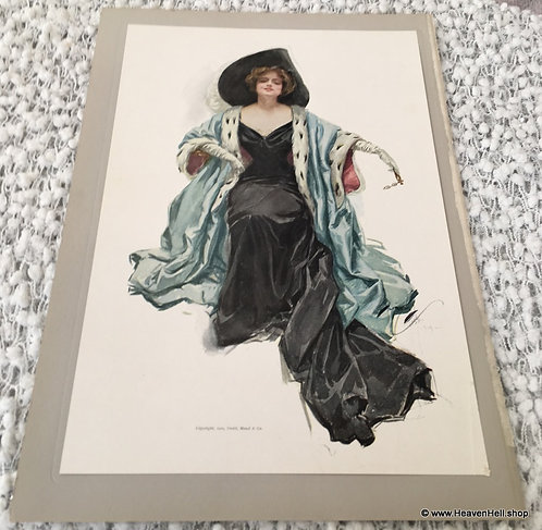 Vintage Harrison Fisher Print Elegant Lady In Gown Opera Glasses My Queen