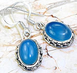 Blue Chalcedony Gemstone Drop Sterling Silver Earrings