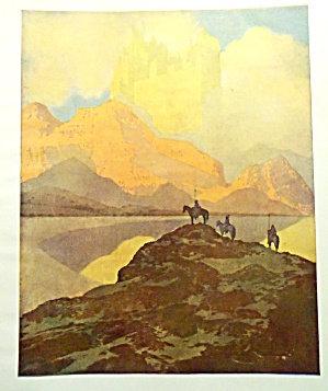 Vintage Art Deco Maxfield Parrish Print Castle Mountain Scene