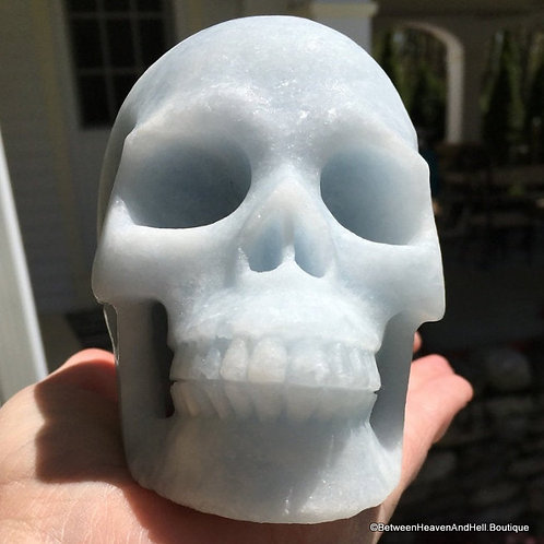 Activated Large Ice Blue Calcite Crystal Skull Tranquil Calming Positive Energy