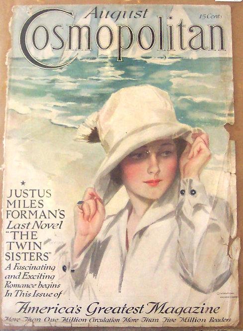 Vintage Harrison Fisher 1915 Cosmopolitan Magazine Cover Art Close to Shore