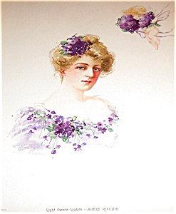 Maud Stumm Stone Lithograph Print : Lady & Cherub Angel