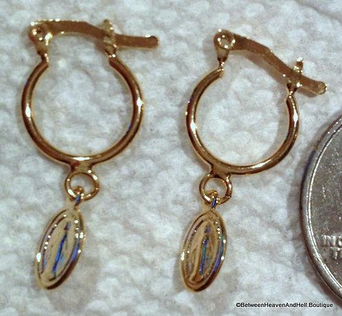Handcrafted Miraculous Medal Goldtone Dangle Hoop Earrings Virgin Mary