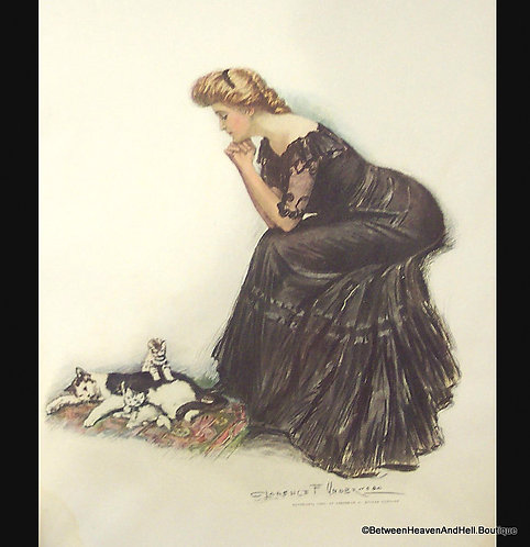 Vintage Kittens Art Print Victorian Lady Cats Clarence Underwood