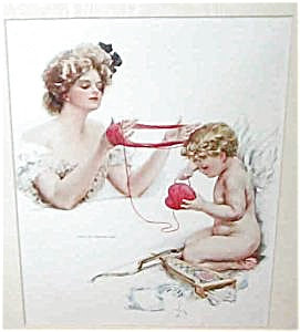 Harrison Fisher Print The Toils Victorian Lady Cupid Angel