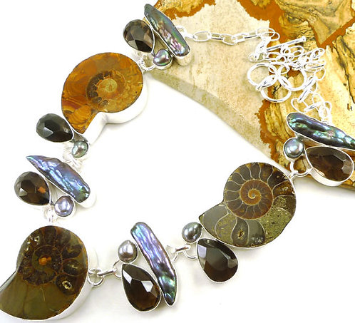 Chunky Sterling Silver Gemstone necklace Ammonite Fossil Smoky Topaz Biwa Pearl