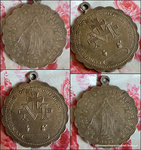 Antique Silver Miraculous Medal Our Lady Of Grace Virgin Mary