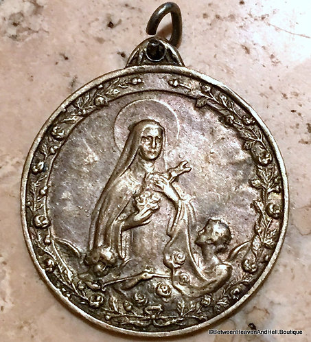 Large Rare Antique Medal Saint Therese St. Theresa Medal Angels Roses